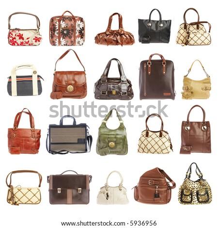 Ladies' handbag on a white background - stock photo