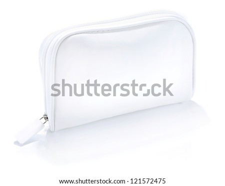 ladies handbag white, Closed white cosmetic bag with handles iso - stock photo