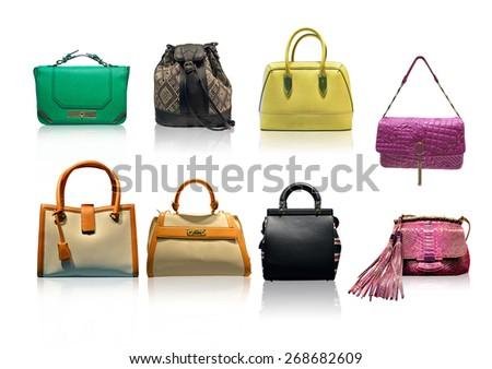 ladies handbags on white background - stock photo