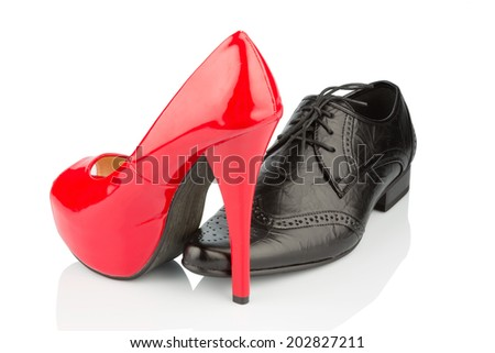 ladies shoes and men's shoes, symbol photo for partnership and equality - stock photo
