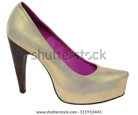 Ladies silver shoes from genuine leather and high heel - stock photo