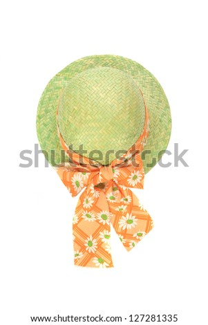 ladies summer hat on white background (cut out) - stock photo
