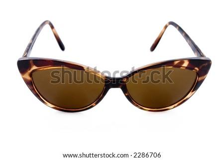 Ladies trendy fifties tortoise-shelled tint protection sunglasses - stock photo