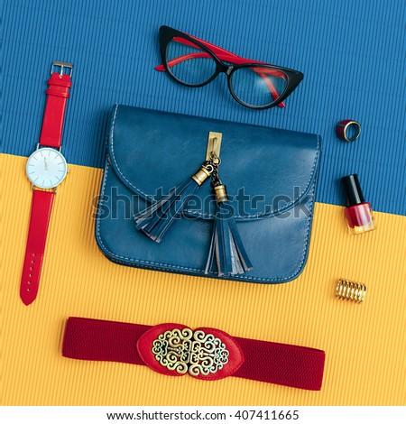 Ladies Vintage Accessory Set. Glasses, Belt, Bag, Watch. Fashion details - stock photo