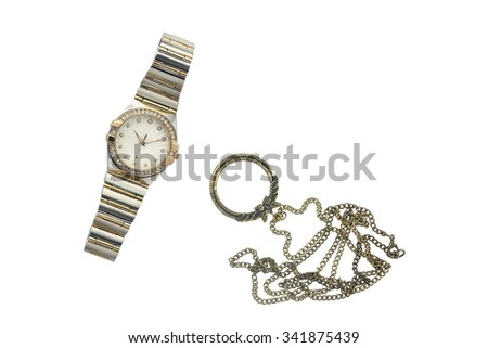 Ladies watch and magnifying glass medallion - stock photo