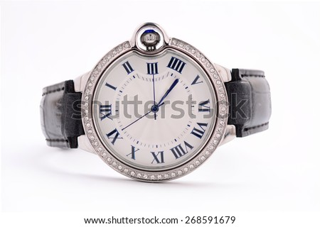 ladies watch on white background - stock photo
