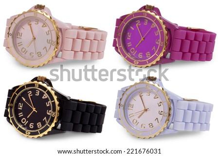Ladies' wrist watches isolated on white background. - stock photo