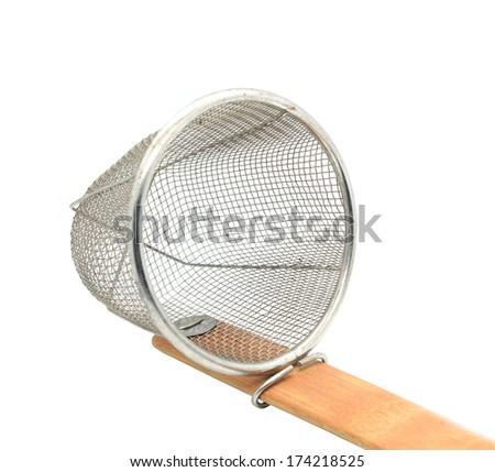 Ladle boiling noodles isolated on white background - stock photo