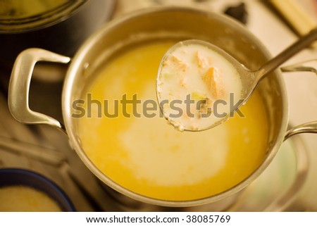 Ladle of freshly cooked fish soup - stock photo