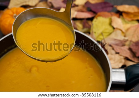 Ladle scooping butternut squash soup from a pot - stock photo