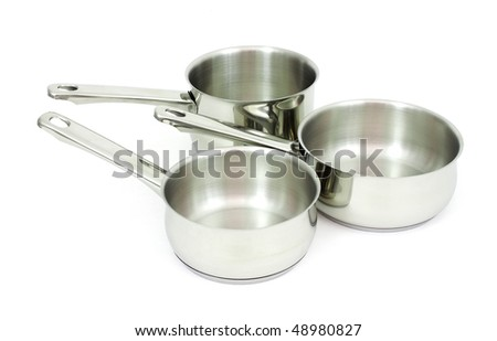 Ladles  made of stainless steel on a white background