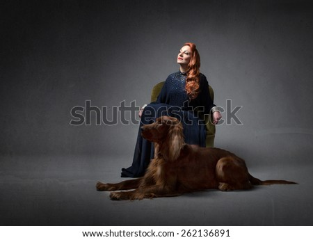 lady and her dog  - stock photo