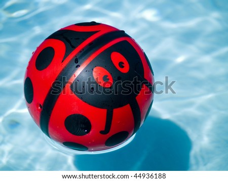 Lady bug ball in a blue swimming pool - stock photo
