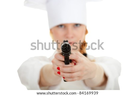 lady chef in white uniform and hat with gun - stock photo