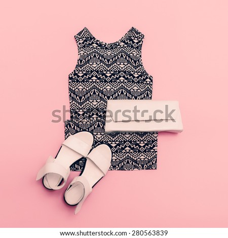 Lady clothing set. Dress and Shoes. Trendy geometric prints. - stock photo