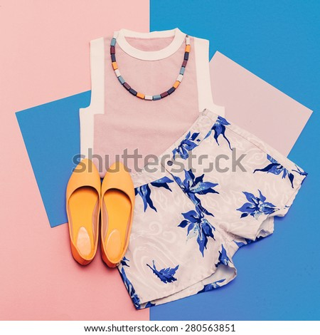 Lady clothing set. Vanilla summer style. Trendy T-shirt, Shorts and Accessories - stock photo
