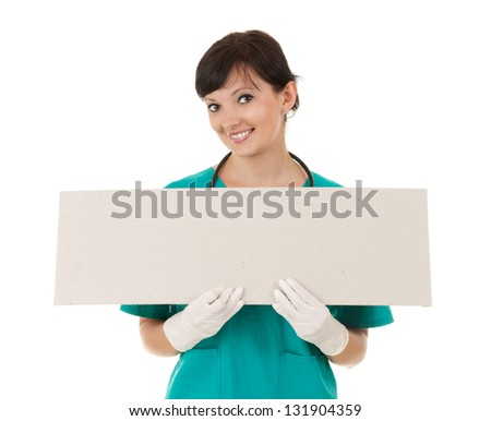 lady doctor keeping empty poster, white background