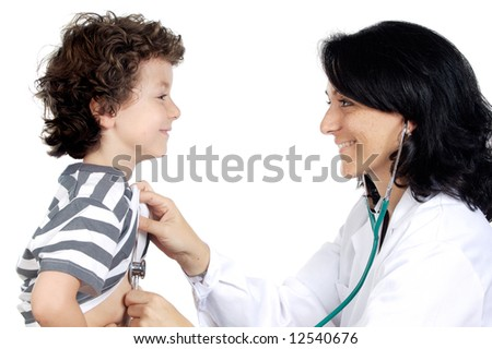 Lady doctor with a child a over white background - stock photo