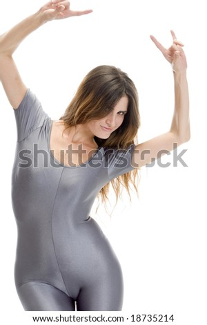 lady doing dance step on an isolated background - stock photo