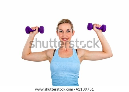 Lady doing fitness exercises isolated on white