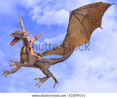 lady dragon hands up blue sky - stock photo
