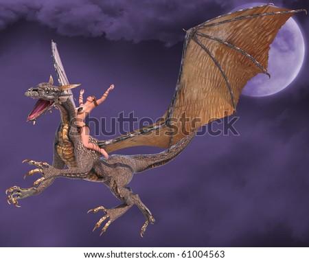 lady dragon hands up fantasy sky - stock photo