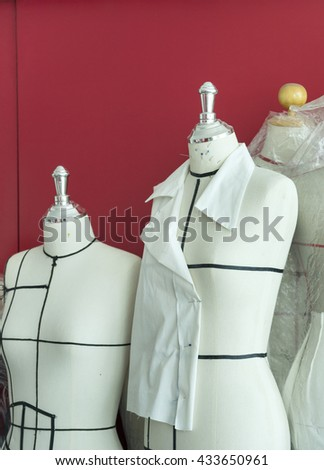 Lady fabric dummy - stock photo