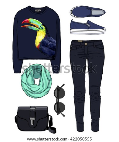 Lady fashion set of autumn, winter season outfit. Illustration stylish and trendy clothing. Denim, slip-on, jeans, bag. Paradise, tropical, exotic toucan