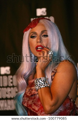 Lady GaGa at the 2010 MTV Video Music Awards Press Room, Nokia Theatre L.A. LIVE, Los Angeles, CA. 08-12-10 at the 2010 MTV Video Music Awards, Nokia Theatre L.A. LIVE, Los Angeles, CA. 08-12-10 - stock photo
