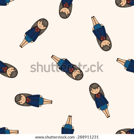 lady girl cartoon , cartoon seamless pattern background