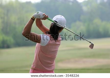 lady golf swing - stock photo