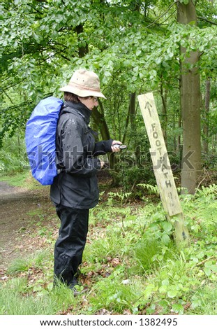 Lady Hiker checking her Compass on a rural footpath