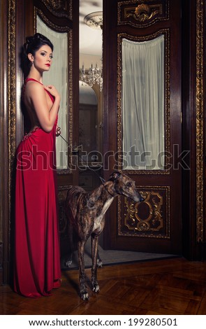 lady in red dress with greyhound - stock photo