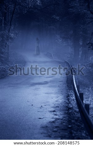 Lady in White Dress, vintage filter - horror scene - stock photo