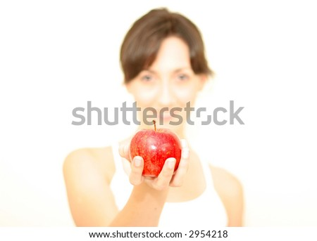 Lady is holding an apple