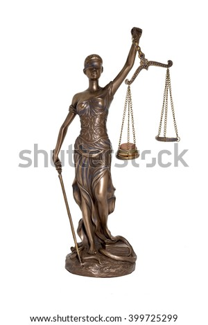 Lady Justice holding imbalanced scale isolated on white background (concept of injustice) - stock photo
