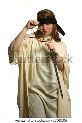 Lady Justice Peeking - stock photo