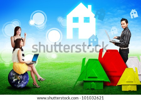 Lady look at the dream house from sale man : Elements of this image furnished by NASA - stock photo