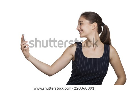 Lady model close up with a pose as taking a selfie - stock photo