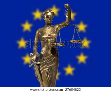 Lady of Justice on background rippled EU flag - stock photo