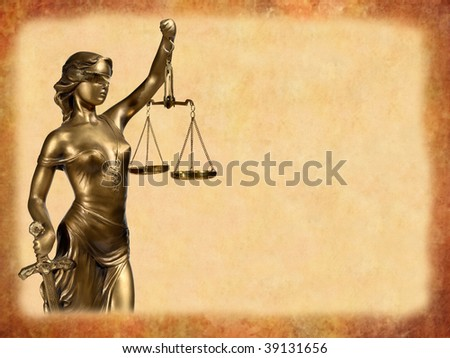 Lady of Justice on brown background - stock photo