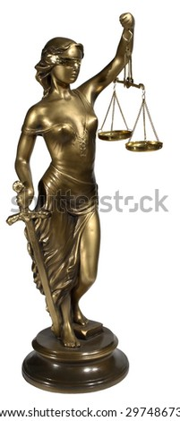 Lady of Justice on white background - stock photo