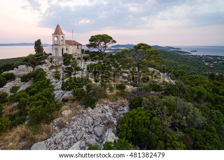 Lady of Loreto, the church at the top of Mali Bokolj, Croatia at dusk