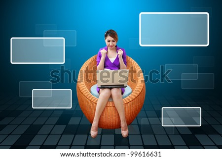 Lady on arm chair and windows icon - stock photo