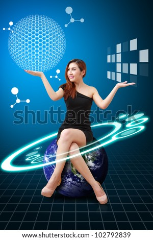 Lady on globe and Carbon nano ball present : Elements of this image furnished by NASA - stock photo