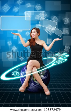Lady on globe and digital background : Elements of this image furnished by NASA - stock photo
