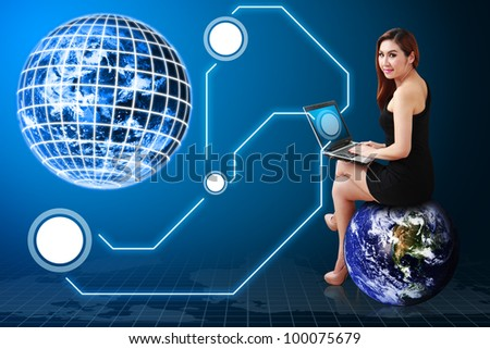 Lady on globe and digital world connected : Elements of this image furnished by NASA