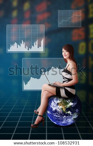Lady on globe and graph report : Elements of this image furnished by NASA - stock photo