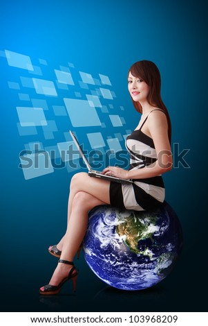 Lady on globe and icon window background : Elements of this image furnished by NASA