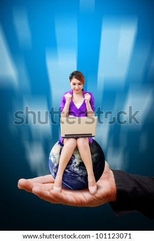 Lady on globe and smile on the god hand : Elements of this image furnished by NASA - stock photo